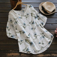 Loose Floral Printed Pullovers Tops Beach Blouses