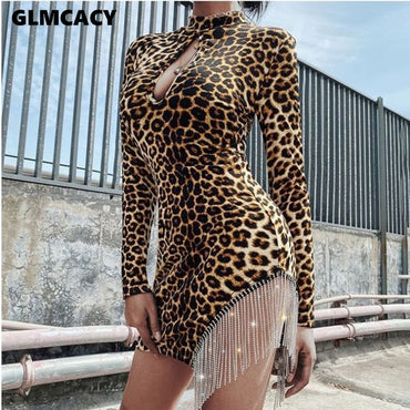 Turtleneck Long Sleeve Leopard Bodycon Dress