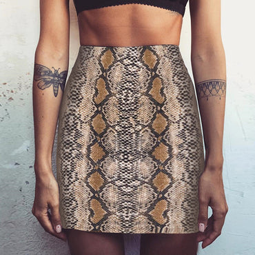 Vintage Sexy Snakeskin Patterned Bodycon Skirt