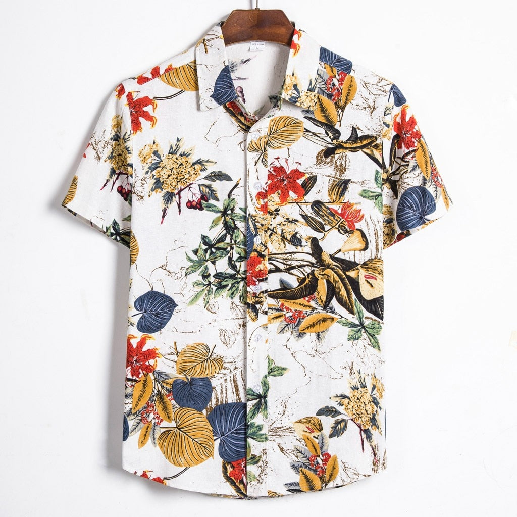 Summer Ethnic Printed Stand Collar Short Sleeve Loose Shirt