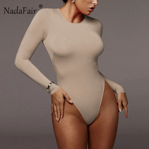 Long Sleeve Bodycon Black Bodysuits