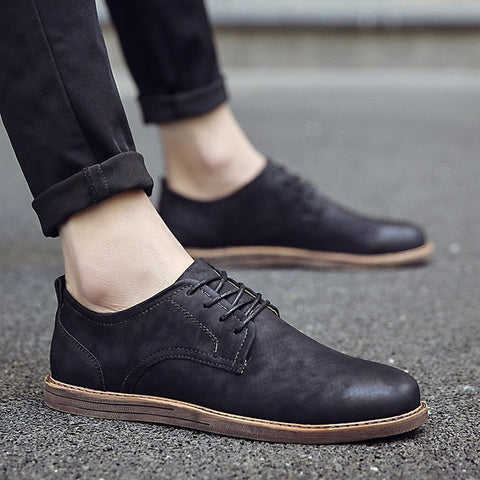 Business Black Flats Lace-up Oxfords