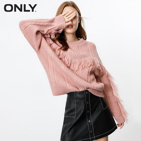 Loose Fit Fringed Knitted Sweater