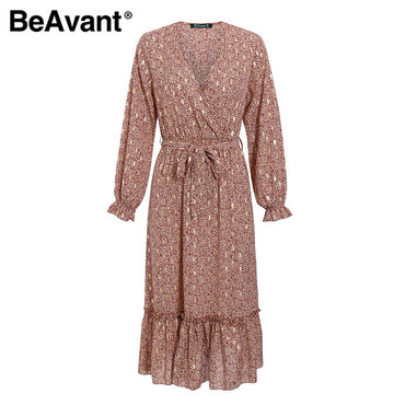 Elegant Long Sleeve printed Dress