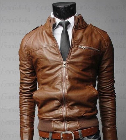 Black Brown Mens Stand Collar Coats Leather Biker Jackets