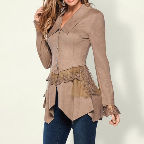 Patchwork thin slim sexy beautiful fashion gril boho coat