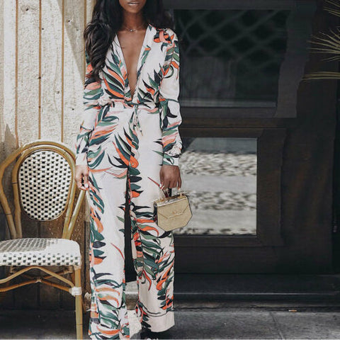 Strap Slim Trousers Long Sleeves Jumpsuit