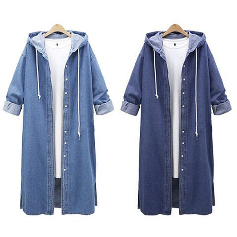 Hooded Long Denim Jacket