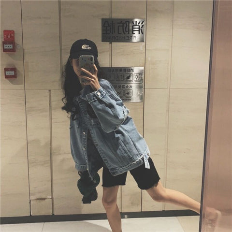 Hip Hop Hole Single Breasted Jeans Jacket