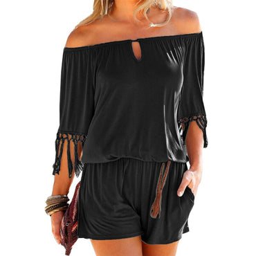 Casual Sexy Slash Neck Tassel Rompers