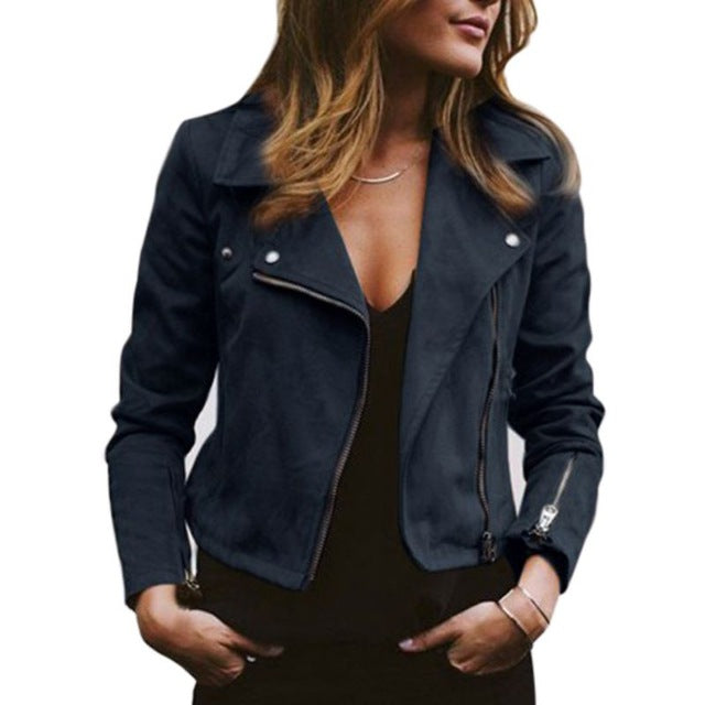 Lapel Diagonal Zipper Short Jacket