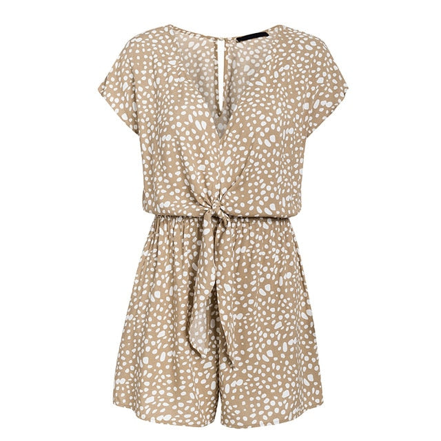 bow sleeveless wide leg rompers