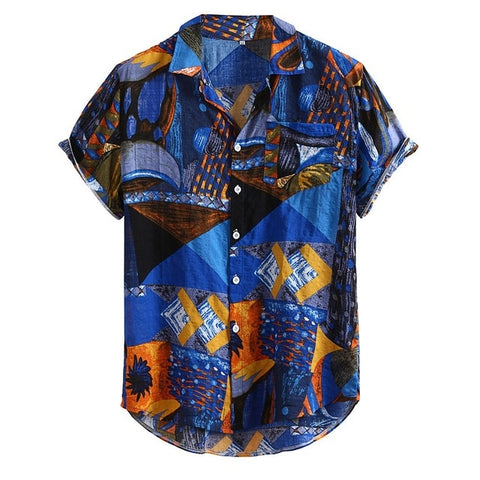 Vintage Ethnic Printed Turn Down Collar Short Sleeve Loose Shirt
