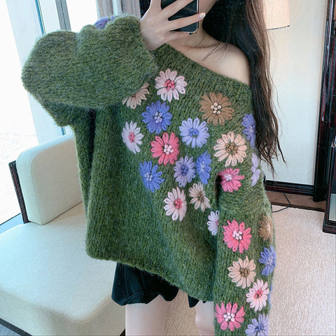 Sexy Strapless Bat Knitted Top Green Causal Loose Knitwear