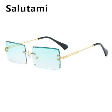 Cutting Frameless Small Square Sunglasses