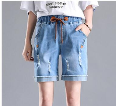 Half Long Solid Tassel Denim Shorts