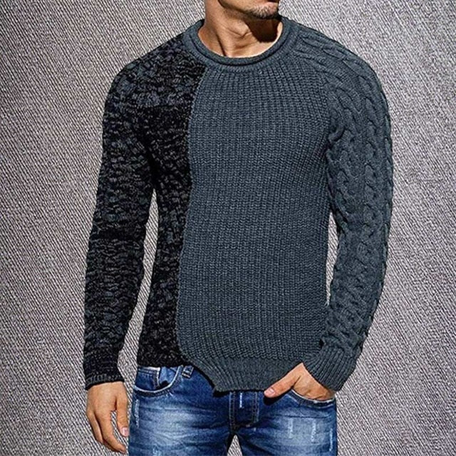 Casual Patchwork O-neck Wool Sweaters