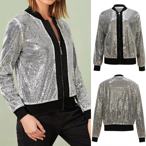 Green Sequined Cardigan Jacket