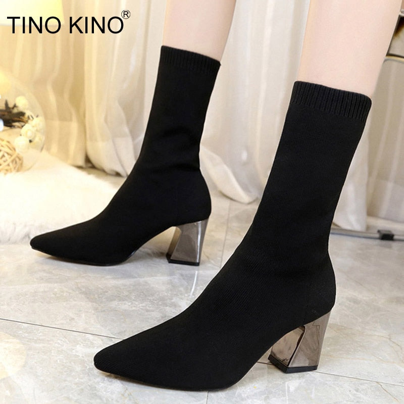 Pointed Toe Stretch Knitting Sock Boots