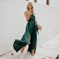 Green Deep V Neck Bohemian Long Dresses