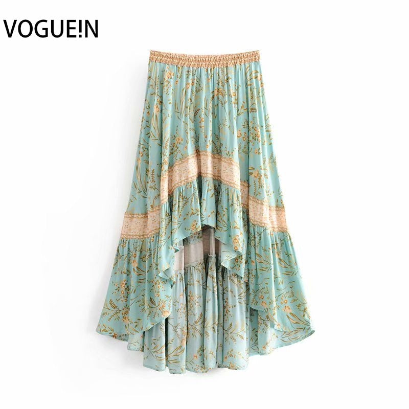 Retro Light Green Beach Boho Floral Print Elastic Asymmetrical Skirt