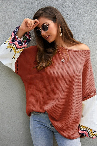 Boho Lantern Sleeve Jumper Long Sleeve Fluffy Print Sweaters