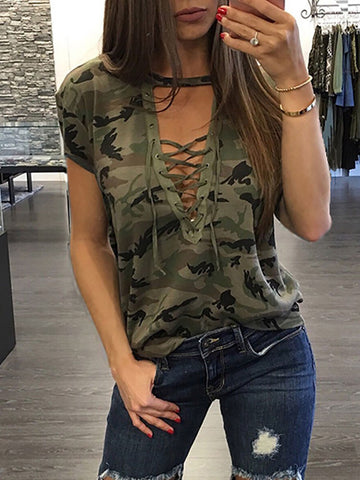 Camouflage Print Sexy V-neck Short Sleeve Tops T Shirt