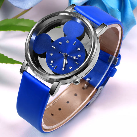 Luxury Quartz With Leather cute Mouse Watch