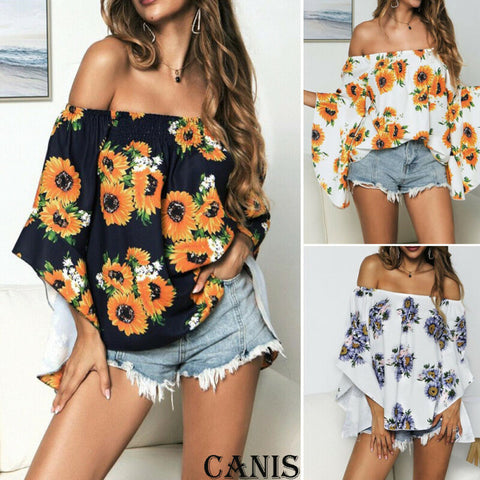 Floral Off-Shoulder Boho Loose Baggy Tops Tunic T Shirts
