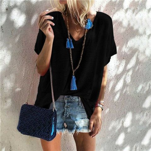Boho O Neck Short Sleeve Holiday Tops