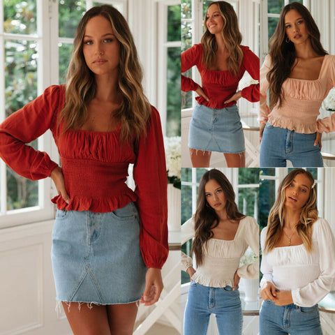 Casual Ruffles T-Shirt Tops