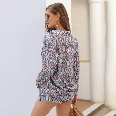 Floral Printing Long Sleeve Lapel Daily Cardigan Shirt