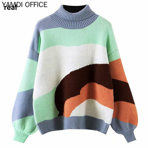 Loose Jumper Cotton Long Sleeve High Neck Sweater