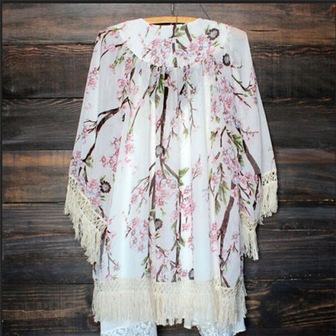 Fashion Boho Floral Print Lace Tassels Cover Up Beach Dress Kimono