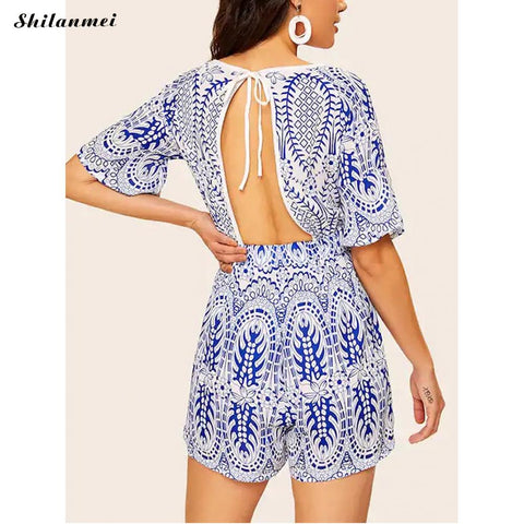 Casual Party Beach Half Sleeve Print Short Rompers