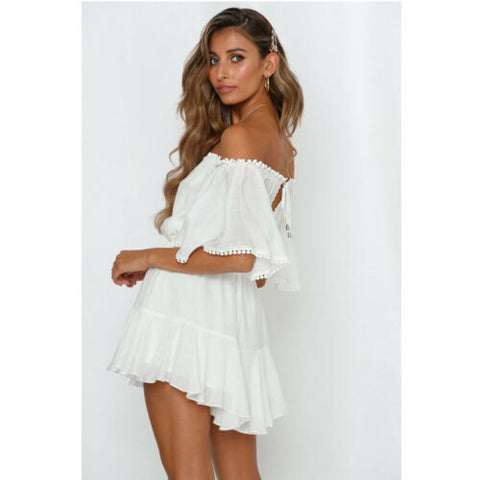 Boho Style Off Shoulder Lace Short Sleeve Jumpsuit