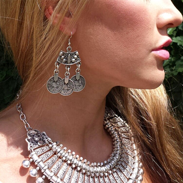 Vintage Silver Coins Maxi Earing