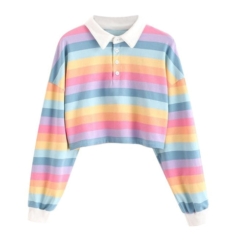 Color Stripe Button Long Sleeve Pullover Sweatshirt