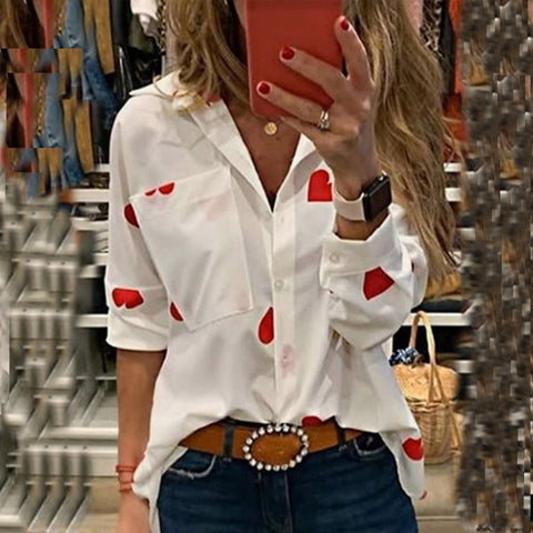 Long Sleeve Slim Heart Printed Turn-down Collar Pocket Blouses