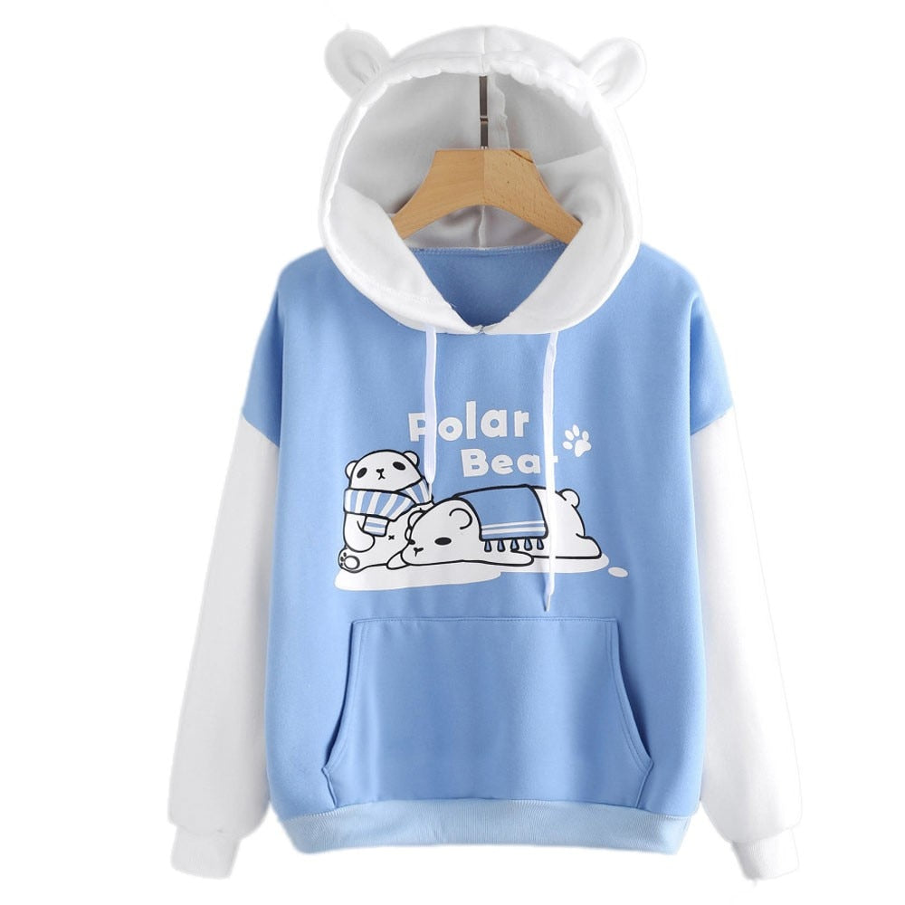 Fashion Patchwork cat ear Long Sleeve hoodies