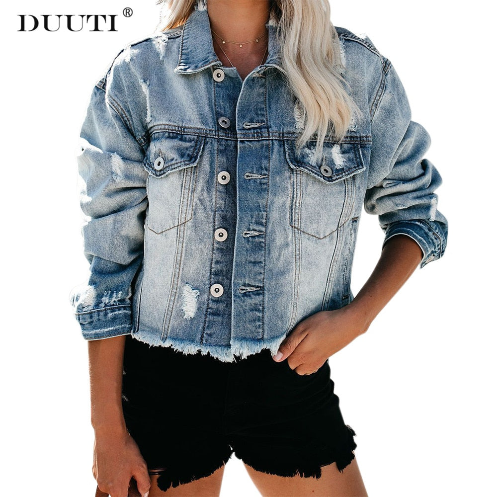 Long Sleeve Short Slim Locomotive Denim Jacket