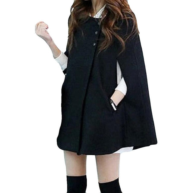 Solid Capes Shawl Cashmere Button Coat