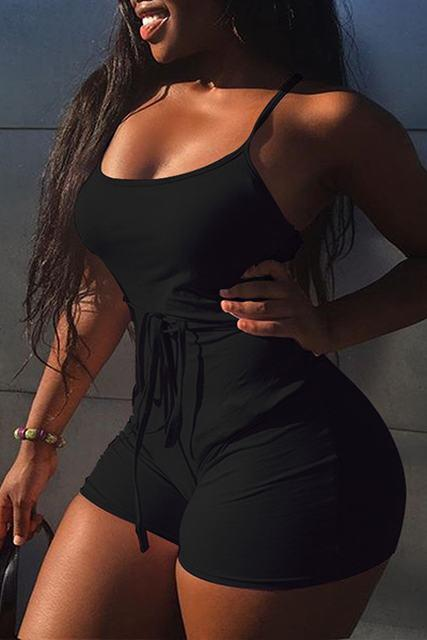 Soild Sleeveless Bangdage Backless Rompers