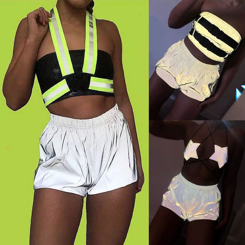 Casual Sexy Wide Leg Reflective Shorts