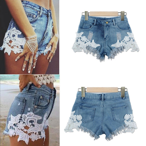 Floral Embroidered Slim High Waist Denim Short