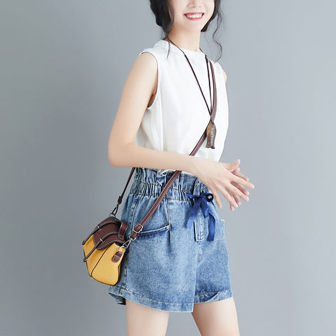 Elastic High Waist Wide Leg Shorts Jeans