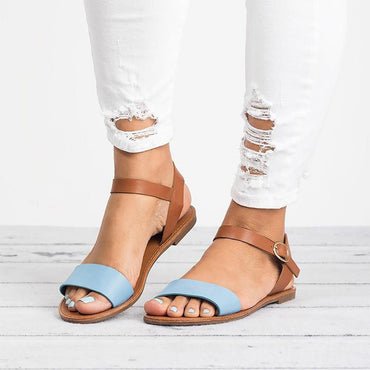 Leather Roma Flat Mixed Color Peep Toe Sandals