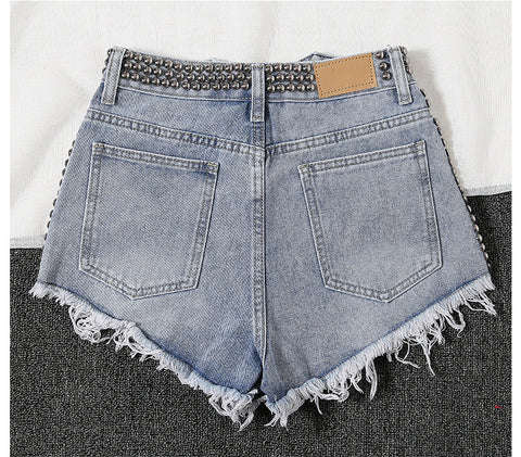 New Short Mujer  High Waist Washed Denim Shorts