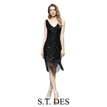 Black V-neck Tassels Sequins Vintage Sexy Cocktail Dress