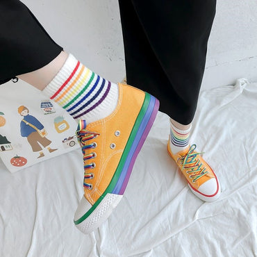 Harajuku Rainbow Canvas Shoes
